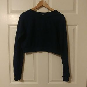 Navy LS Crop Top